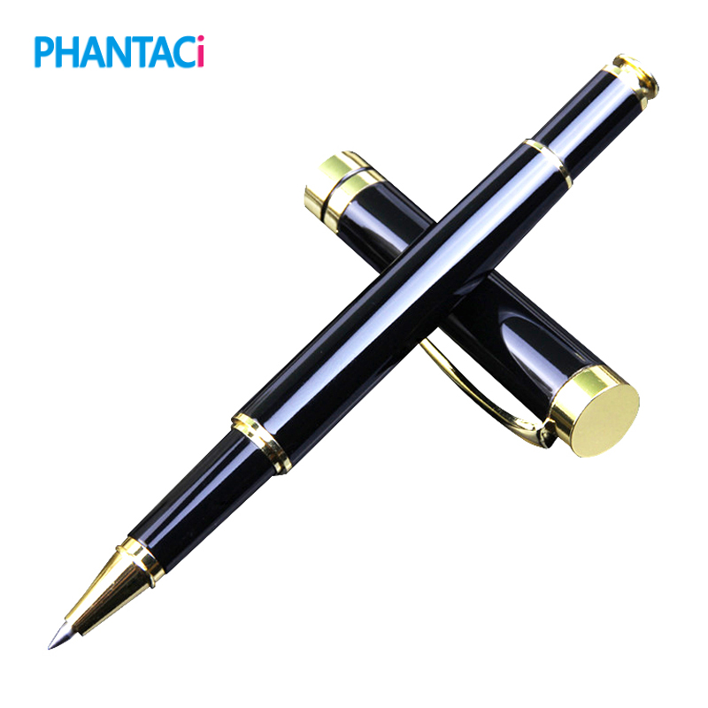 цены Exquisite Luxury Black Metal Ballpoint Pens For Business Writing Gift Roller Ball Pen 0.5mm School Office Stationery Supplies