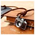 50-73CM Movable Genuine Leather Necklace & Pendants  For Women / Men Vintage Camera Accessories Girl Christmas Gift