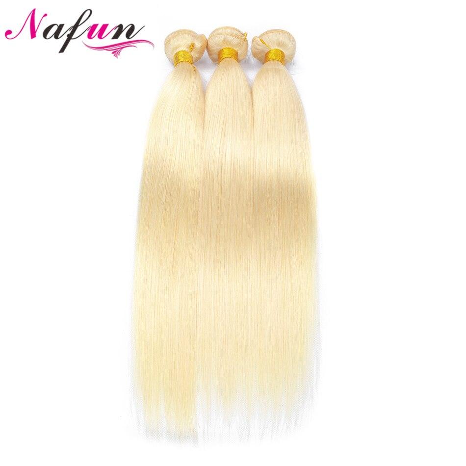 NAFUN 3 Pcs Lot 613 Blonde Hair Weave Brazilian Straight Hair Extension Human Hair Bundles 10