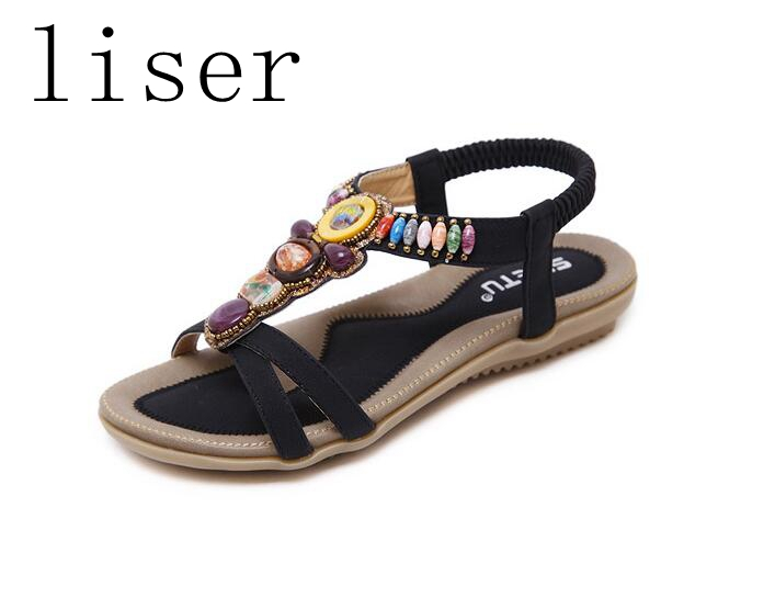 liser New Women Bohemia Flat Sandals Shoes Retro Rhinestone String - Կանացի կոշիկներ
