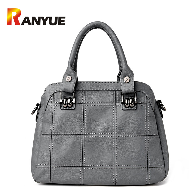ФОТО Fashion Plaid Thread Women Genuine Leather Handbags Brand Designer 2017 Casual Tote Bag Elegent Famous Women Shoulder Bag Bolsos