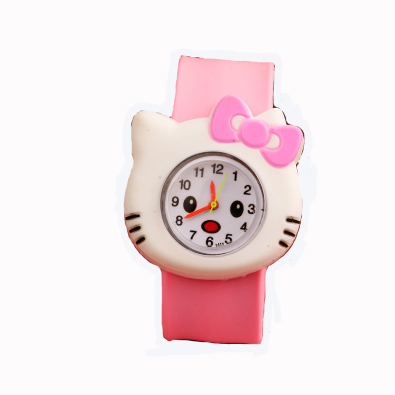 Animation Hello Kitty Magnifier Clock Wrist Hello Kitty Pink Gemstone With Diamonds Watches Children Electronic Watch Cosplay Soft And Light Novelty & Special Use Costume Props