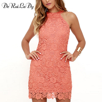 DeRuiLaDy Women Elegant Wedding Party Sexy Night Club Dress Halter Neck Sleeveless Sheath Lace Mini Bodycon
