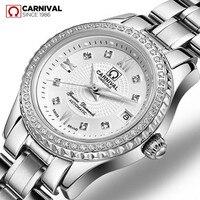 Barato Diamantes de imitación de moda vestido de dama mecánico automático reloj mujer impermeable completa de acero blanco de lujo de oro reloj femenino