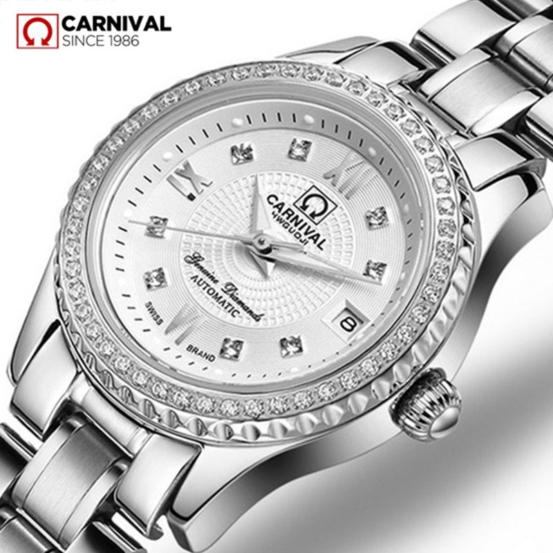 Rhinestone Dress Fashion Lady Automatic Mechanical Watch Women Waterproof Full Steel White Gold Luxury Clock Relogio Feminine