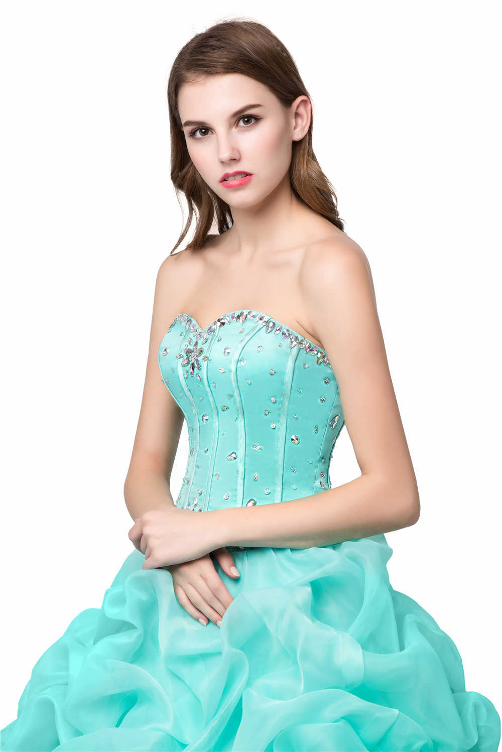 1d53114a67d ... Bealegantom New Sweetheart Mint Green Quinceanera Dresses 2018 Ball Gown  Beaded Crytals Ruffled Prom Sweet 16 ...