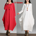Oversize Tops Womens Casual BOHO Maxi Double-deck Loose Cotton Linen Long Dress Gown Caftan Ankle Length Gypsy Blouse Shirtdress