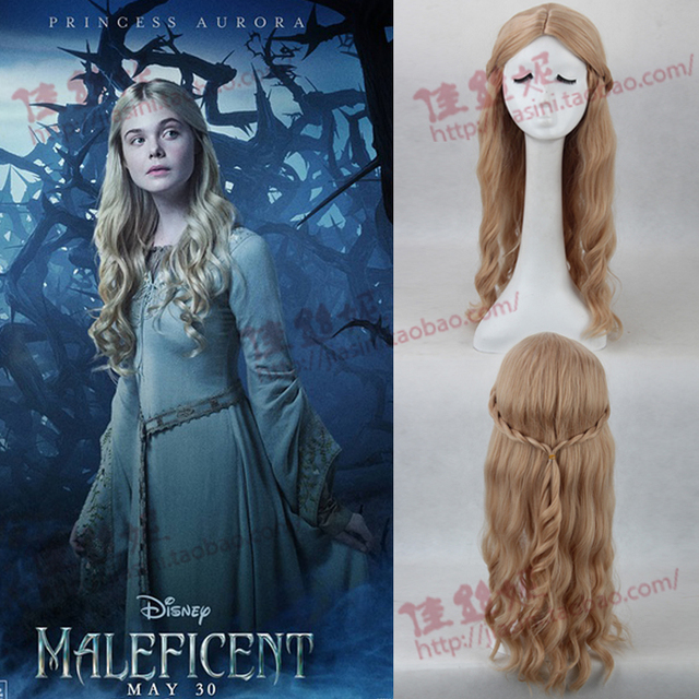 New Movie Maleficent Sleeping Beauty Princess Aurora Long Curly Hair