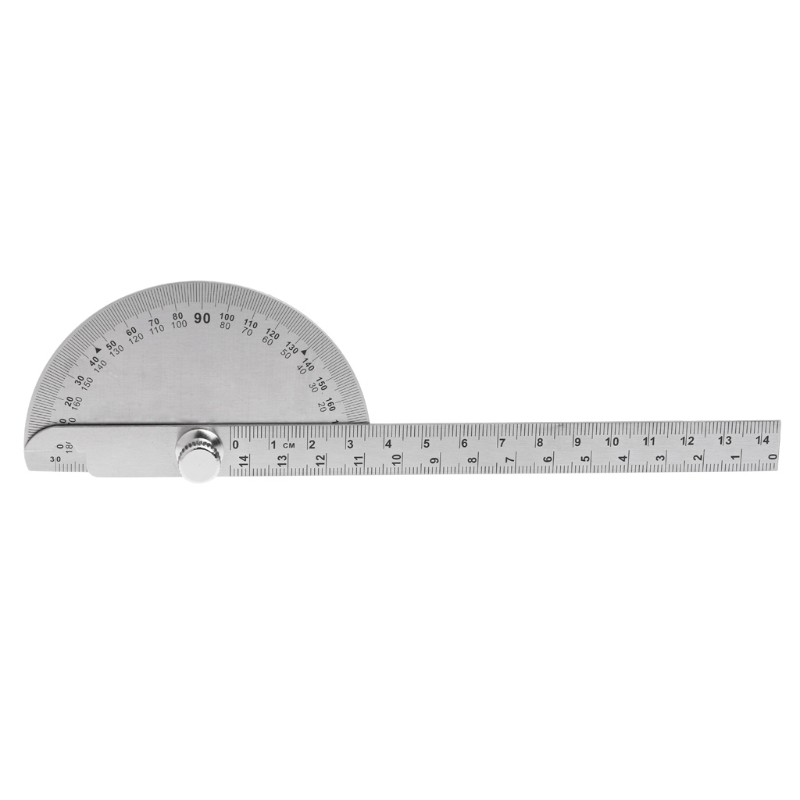1Pc 0-180 Angle Ruler Round Head Rotary Protractor Adjustable Universal Stainless Steel Measuring Tool