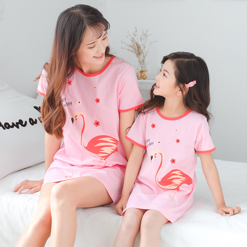 2019 New Girls Cotton Nightdress Children Pajamas Little Girls Dress Children Baby Parent-child Outfit Big Girls Nightgowns