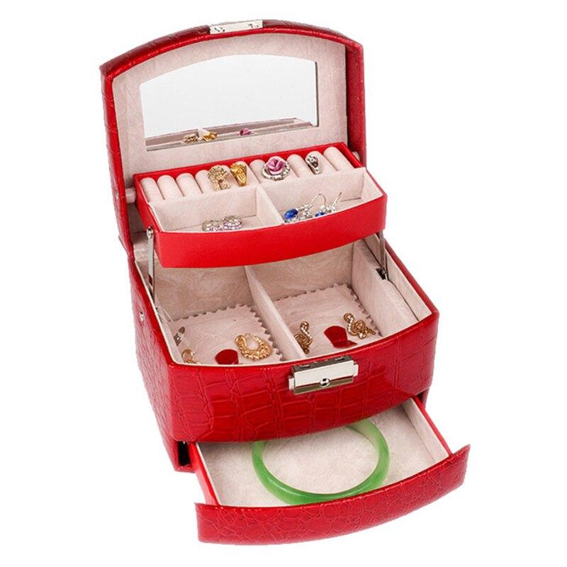 Small Jewelry Box Portable Travel Jewelry Organizer with Mirror Leather Jewelry Storage Case Jewelry Display Drawers Box