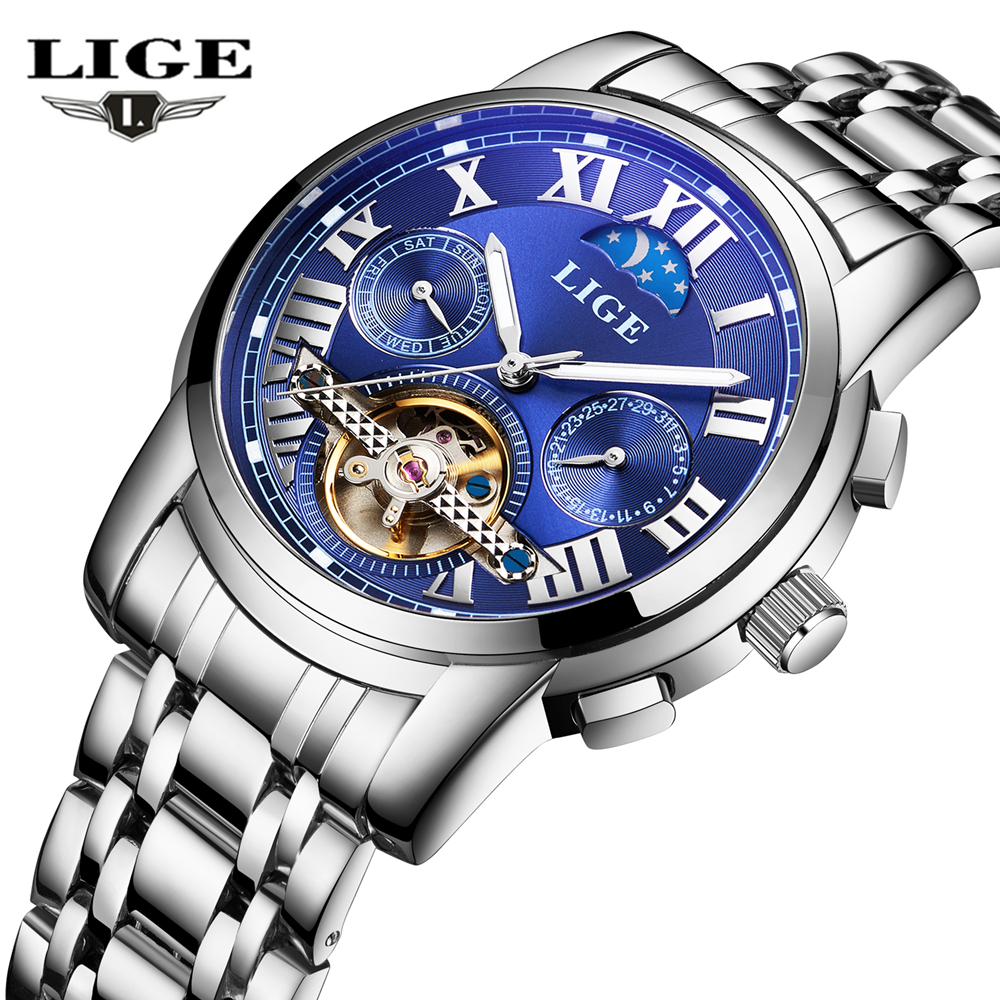 Watches Men Luxury Top Brand LIGE Tourbillon Mechanical Watch Fashion sport casual Automatic Wristwatch relogio masculino 2016 binssaw 2016 watches men luxury top brand tourbillon mechanical watch fashion business sport casual wristwatch relogio masculino