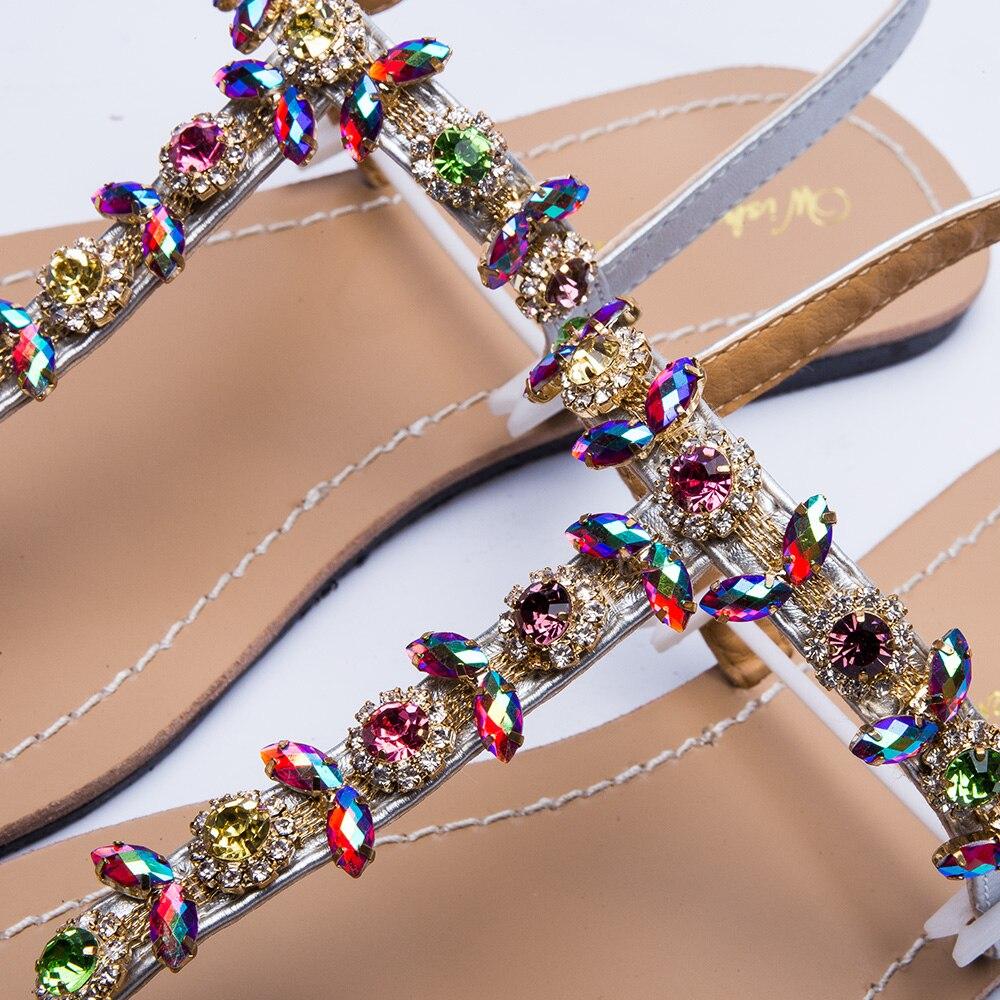2018 NEW Women`s summer bohemia diamond sandals women beach Rhinestone shoes T-strap thong flip flops comfortable peep toe shoes