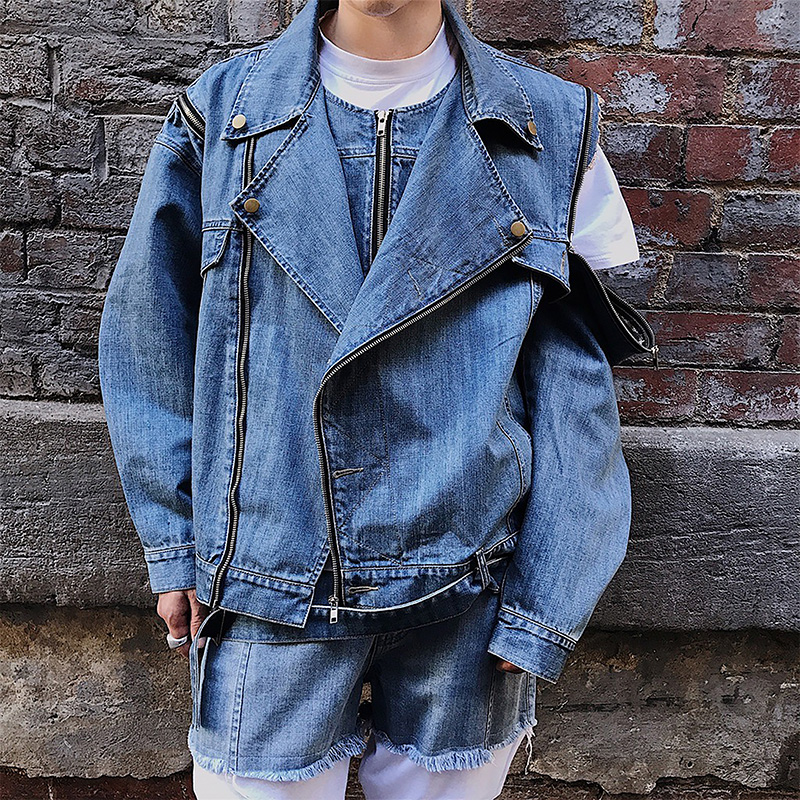 Denim personality zipper long sleeve.