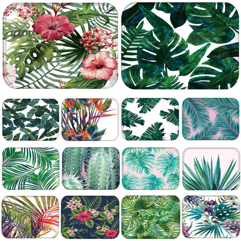 1pcs 40*60cm Flower Leaf Cactus pattern Anti-Slip Suede Carpet Door mats doormat Outdoor Kitchen Living room Floor Mat Rug 48172