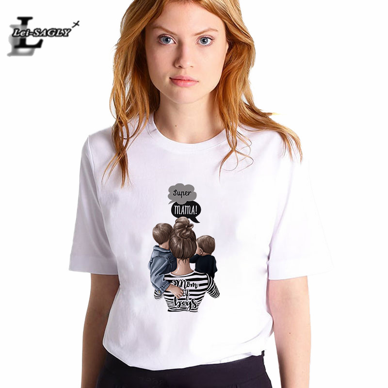 Lei SAGLY Super Mom Female T Shirt Summer Women 2019 Mom of Boys Cute Korean Style Shirt Streetwear White Casual Vogue T-Shirts