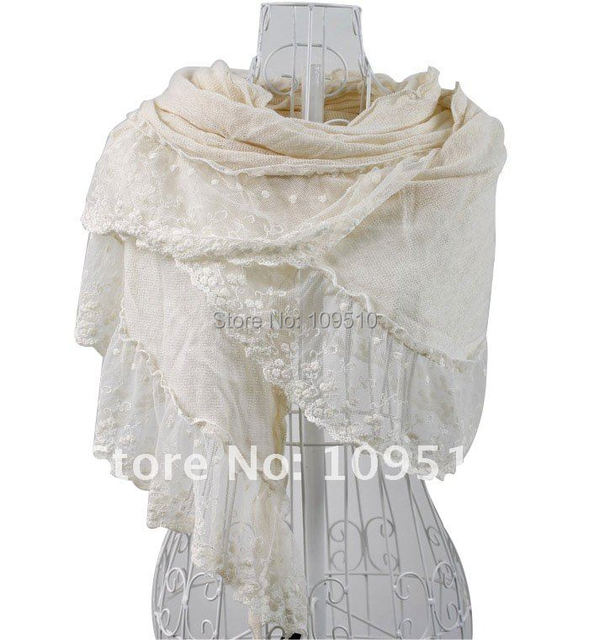 2013 fall & winter cheap fashion new style floral lace trimmed warm pashmina scarf for women
