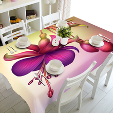 Custom Europe 3D Tablecloth Red Tropical Exotic Flowers Pattern Waterproof Washing cloth Thicken Rectangular Wedding table
