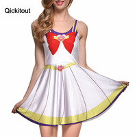 2014 New Sailor Moon Cosplay Printed Dress Halloween Costumes Very Cute Multi Colored Sleeveless Pleated Dress