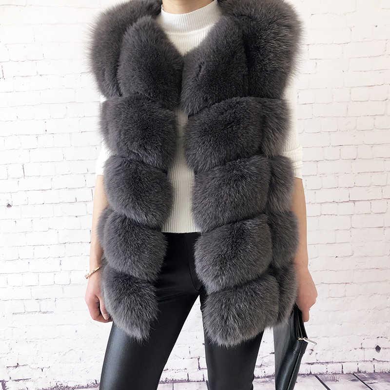 2019 новый модный жилет из лисьего меха 100% натуральная Меховая куртка женская зимняя теплая шуба высококачественный кожаный жилет