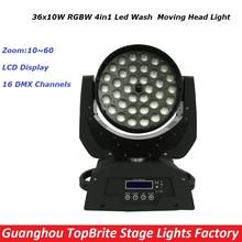 2016 neue 36X10 Watt Zoom Moving Fernlicht RGBW 4IN1 Led Moving Head Strahl Wirkung Lichter Für Bühne Professionelle Dj ausrüstung