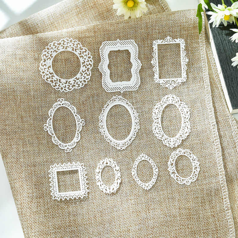 KLJUYP 10pcs White Lace Frames Lace Paper Doilies/Placemats for Wedding Party Decoration Supplies Scrapbooking Paper Crafts