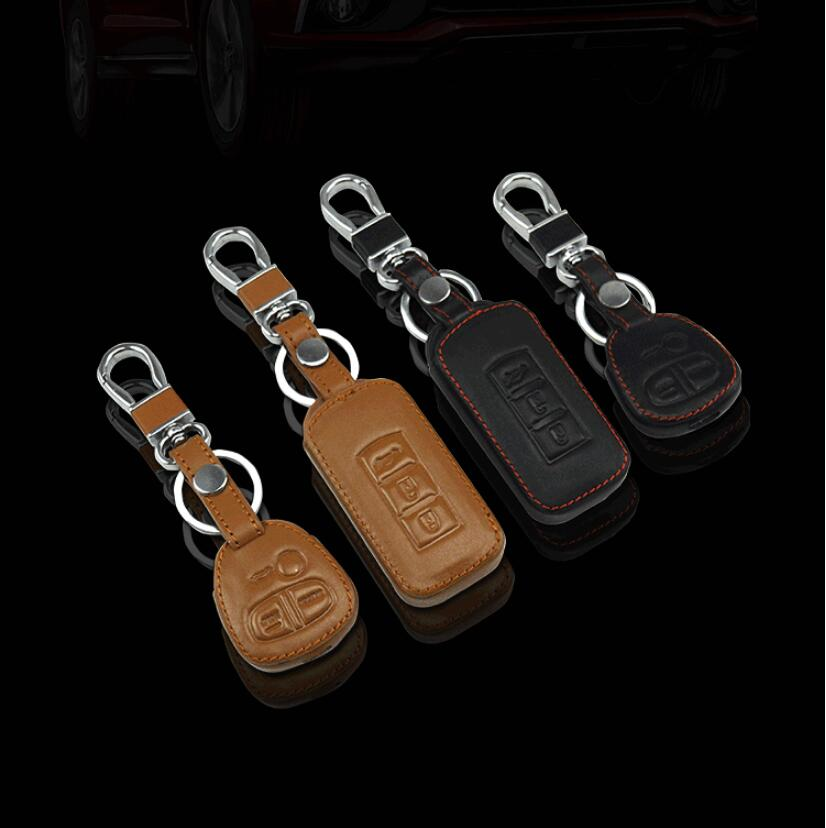 Car styling Leather Remote key cover shell case For MITSUBISHI ASX Outlander Lancer Pajero Eclipse Grandis FORTIS Zinger Mirage