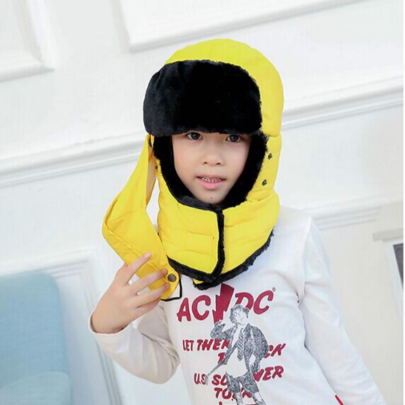 Которая в душе семья мех бомбер шляпа для женщин и мужчин ушные щитки Русская Шапка Детская уличная теплая утолщенная зимняя шапка с шарфом маска - Цвет: kids yellow