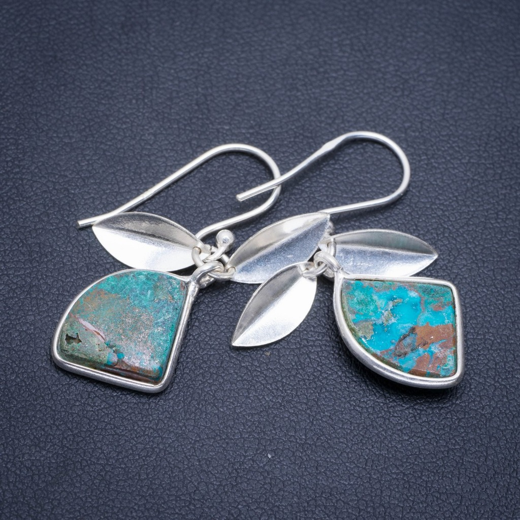 Natural Chrysocolla Handmade Unique 925 Sterling Silver Earrings 1.25 A2059