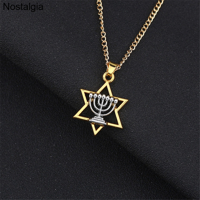 "Menorah Pendant Necklace 20/"" or 24 Inch Chain candelabrum Star of David Hebrew"
