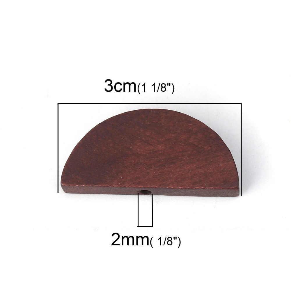 "Doreen Box Kayu Pengatur Jarak Manik-manik Setengah Putaran 30 Mm (1 1/8 "") X 14 Mm (4/8 ""), Lubang: Kira-kira 2 Mm, 30 Pcs"