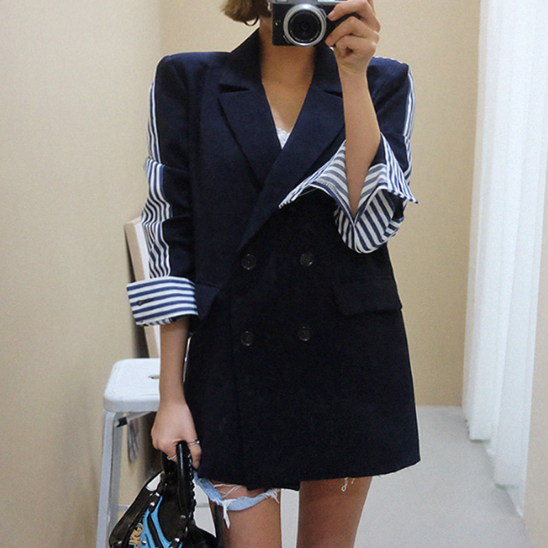 LANMREM 2020 Spring New Casual Fashion Women Loose Vintage Stitching Stripes Back Slit Long Sleeve BlazerTC806