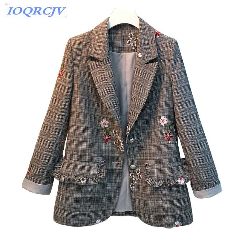 Blazers occasionnels femmes 2018 nouveau Printemps automne Plus la taille 5XL veste De broderie de Mode tops costume À Carreaux veste Mince femme N232