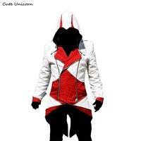 Şık Slim fit Creed Hoodies Assassins Cosplay Kostüm Conner Kenway Hoodie erkek ceket ve mont Palto Hoody Ceket