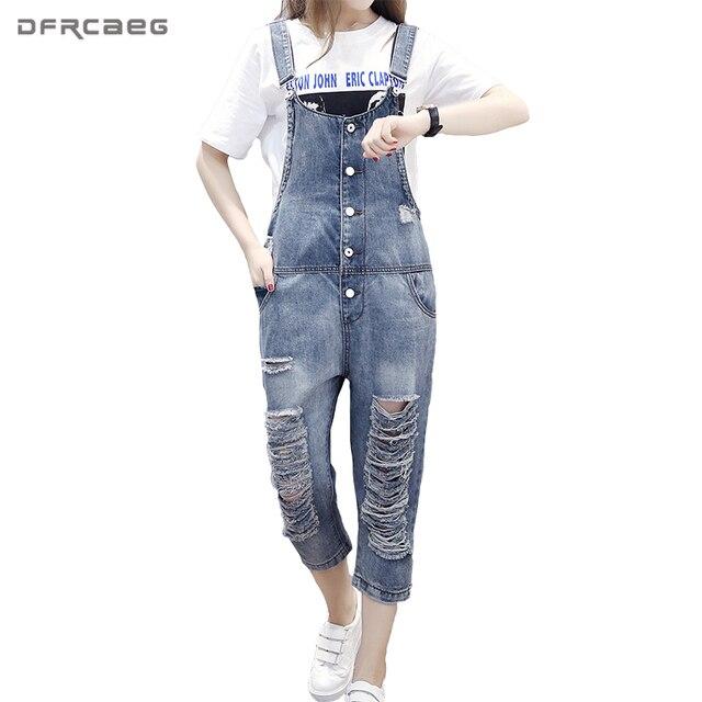 a9b78d3d9f78 European Preppy Style Ripped Jeans 2018 Autumn Ankle-Length Pants Hole  Hollow Out Denim Jumpsuit Vintage Strap Stretch Rompers