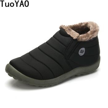 HOT Sale Autumn Winter Casual Snow Boots Men Waterproof Ankle Boots Flat Slip-Resistant Fashion Man Winter Shoes Big Size 48