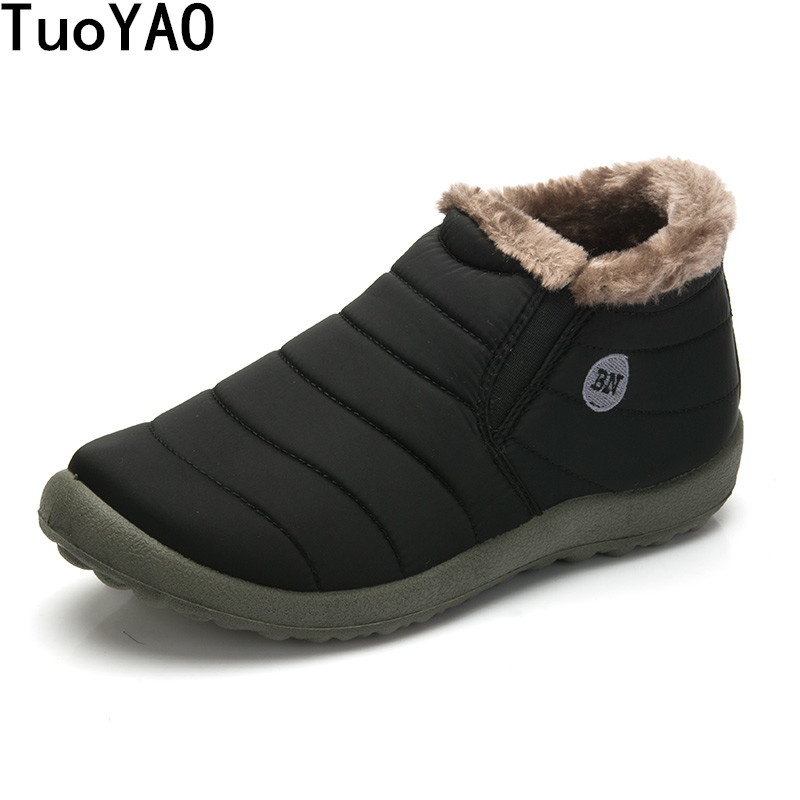 HOT Sale Autumn Winter Casual Snow Boots Men Waterproof Ankle Boots Flat Slip-Resistant Fashion Man Winter Shoes Big Size 48 image