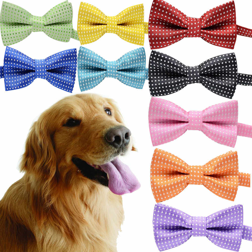 Pet Cat Dog Bow Tie Polka Dot Adjustable Buckle Neck Ties Collar Polyester Kitten Puppy Decoration Accessories Dropship F126