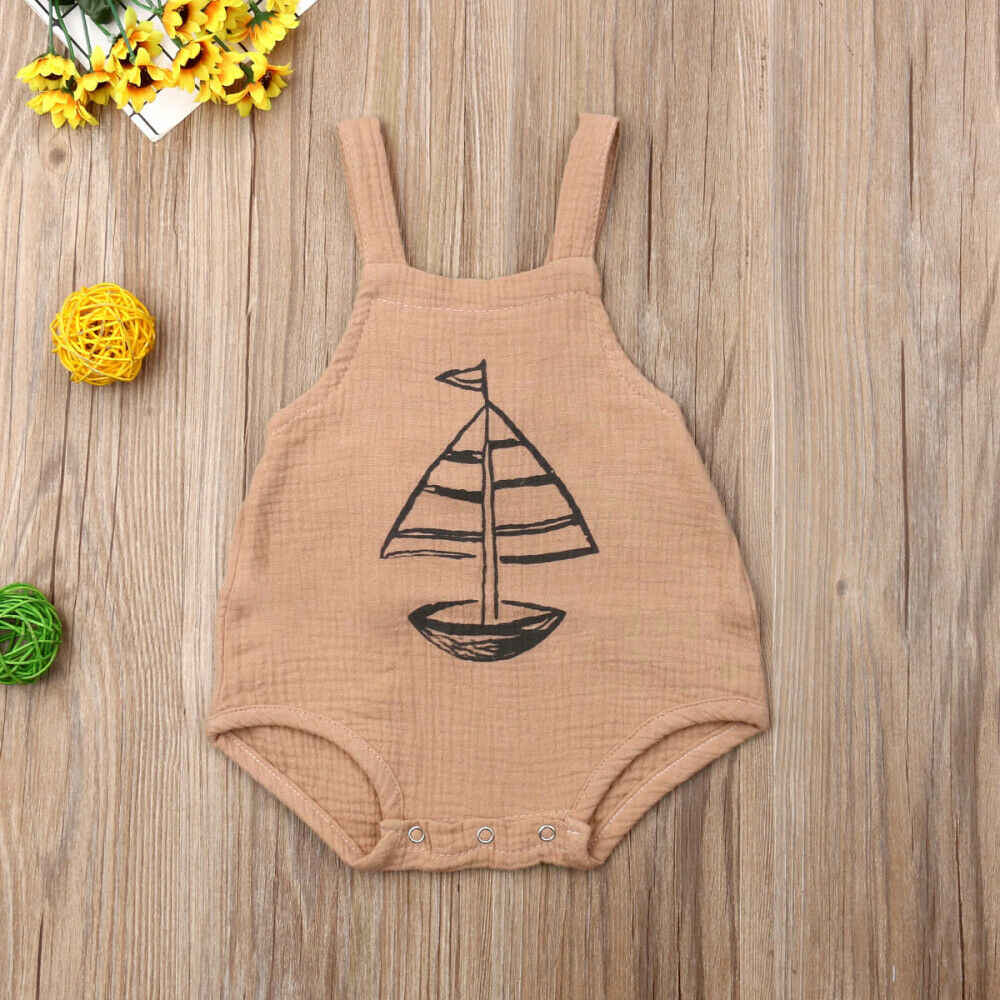 2019 Baby Summer Clothing Newborn Baby Girl Boy Ship Print Bodysuit Sleeveless Pattern Jumpsuit Outfit Olaysuits Sunsuit Clothes