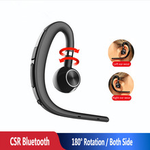 D15 Bluetooth V5 Headset with Mic Wireless Earphone Single Earbud 180 Ratation for Business Driving Gaming Earhook