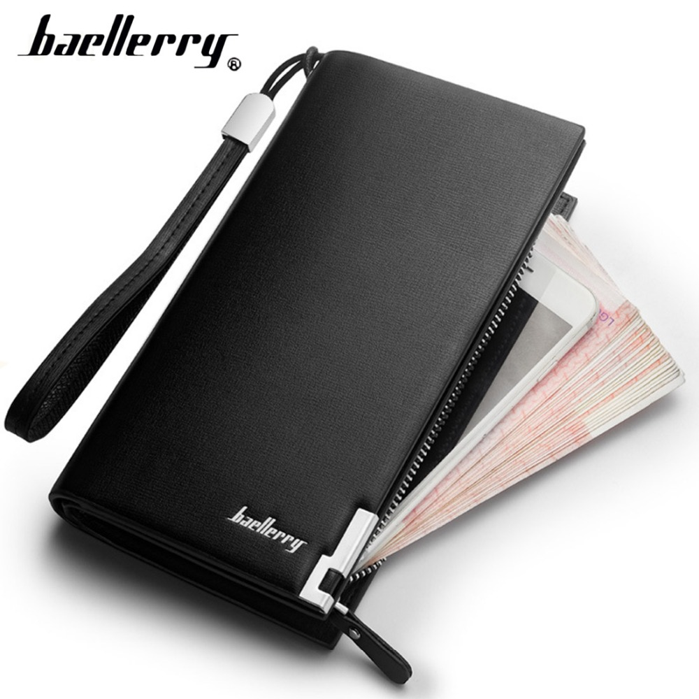 Baellerry Men Wallets Classic Long Style Card Holder Male Purse Quality PU Zipper Large Capacity Luxury Wallet For Men Clutch