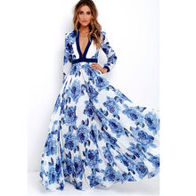 Womail Female Dress Women Bohemian Long Maxi Party Dress Ladies Boho Deep V-neck Summer Print Dress 2.Apr.25(China)
