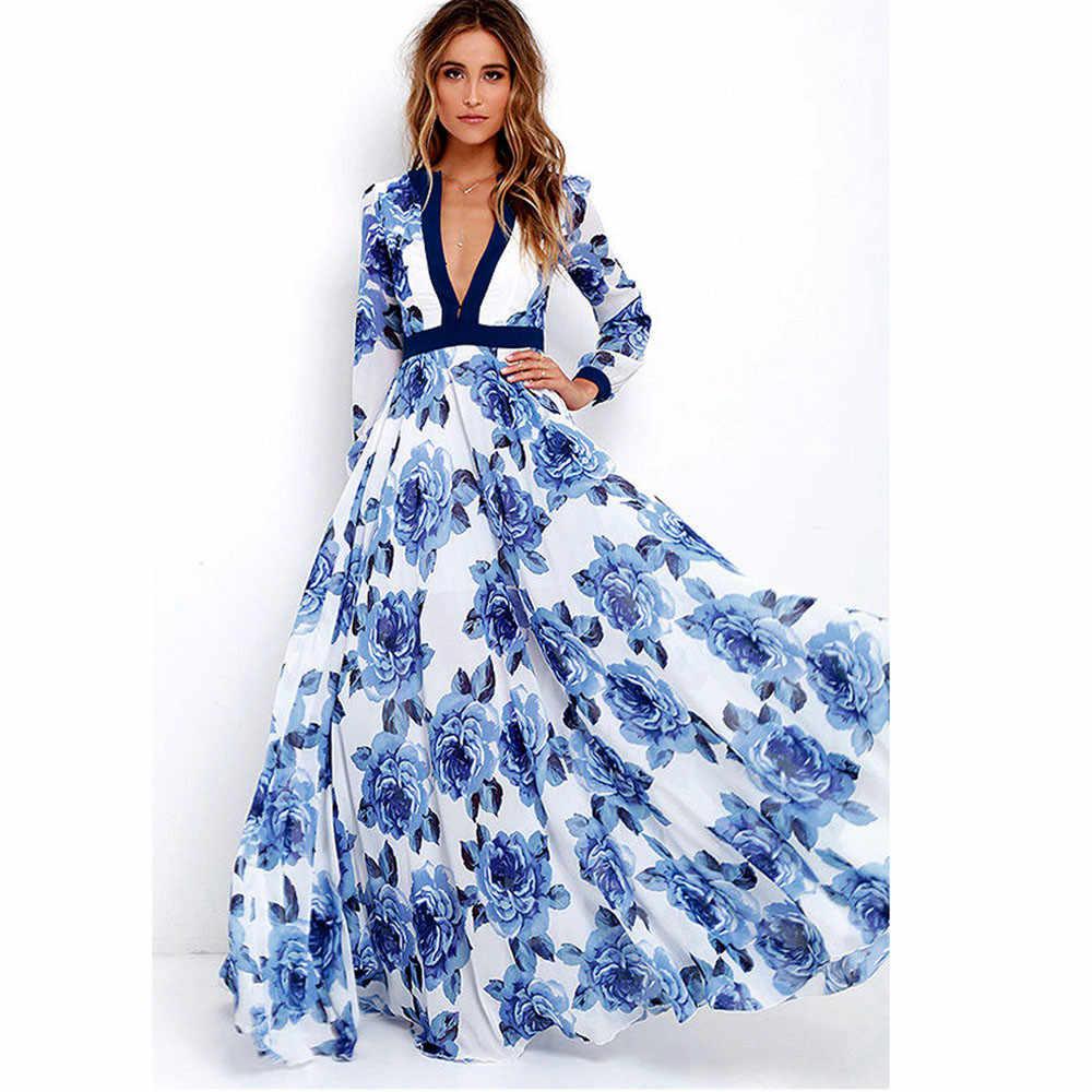 Womail женское платье женские богемные Длинные Макси Вечерние платья женские Boho глубокий v-образный вырез летнее платье с принтом 2. Apr.25