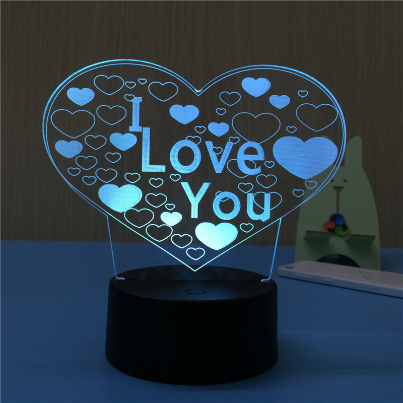 Novelty Gift Creative Couples 3D Lamp Night Light For Chilren LED Illusion Atmosphere Sleep Light Touch Colors Changing For Home