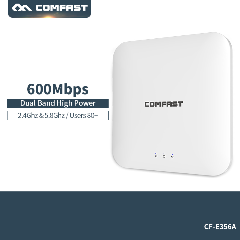 802.11ac 2.4G&5.8G Dual Band 600Mbps Ceiling Mount PoE WiFi AP Router Wireless Access Point PoE Adapter 4*2dbi Inside antenna