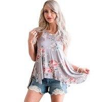 2017 Summer New Summer Tops Woman Clothing Sleeveless High Street Floral Print Flowy Tank Top Women
