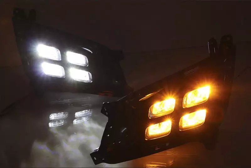 for kia optima K5 2014 led drl daytime running light fog lamp super bright top quality with yellow turn signals