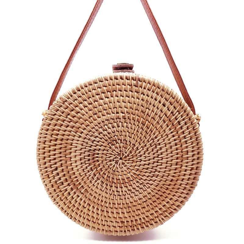 2019 boêmio bali rattan sacos para as mulheres pequeno círculo praia bolsas verão saco de palha do vintage artesanal saco do mensageiro l26