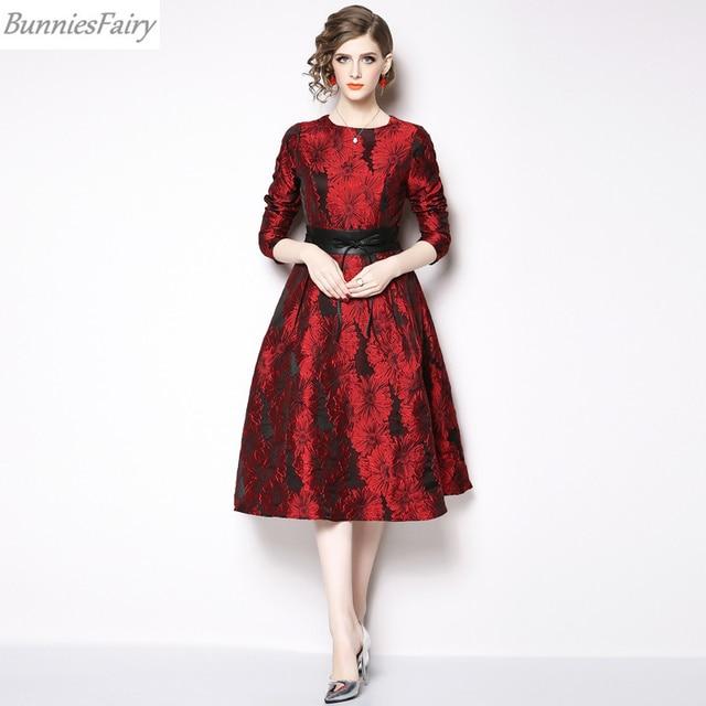 a61898989234 BunniesFairy 2019 Spring New Hepburn Vintage Style Women Burgundy Jacquard  Floral High Waist Long Sleeve Midi