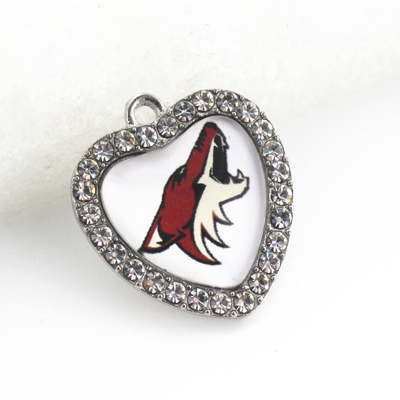 12pcs NHL Sports Arizona Coyotes Dangle Charm Crystal Heart Hockey Charms DIY Jewelry Accessory Pendants Hanging Charms